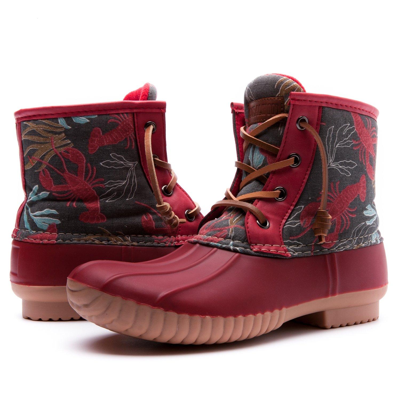 Women's GW Nylon Textile Duck Rain Boots B01JPTLGSQ 9 B(M) US|Red