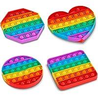 ZALIK 4 Pack Rainbow Pop Fidget Toy, Push Pop Bubble Fidget Sensory Toy for Kids and Adults, Fidget Popper Stress…