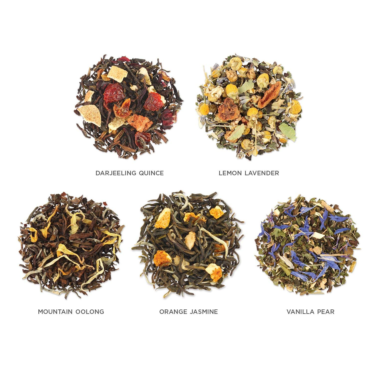 Assorted Tea Variety Pack, 15 Single Serve Pouches, Black Tea, Green Tea, Oolong Tea, White Tea, Herbal Tea