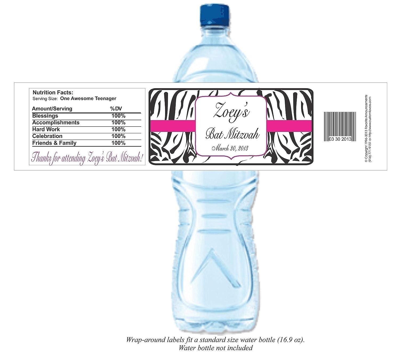 f1d659e15a Amazon.com: Bat Mitzvah Zebra Theme Personalized Water Bottle Labels,  Waterproof (set of 24)(Y657): Handmade
