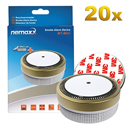 20x Nemaxx Detector de Humo M1-Mini Dorado - sensibilidad fotoeléctrica - Certificado VDS y con batería de Litio Tipo ...