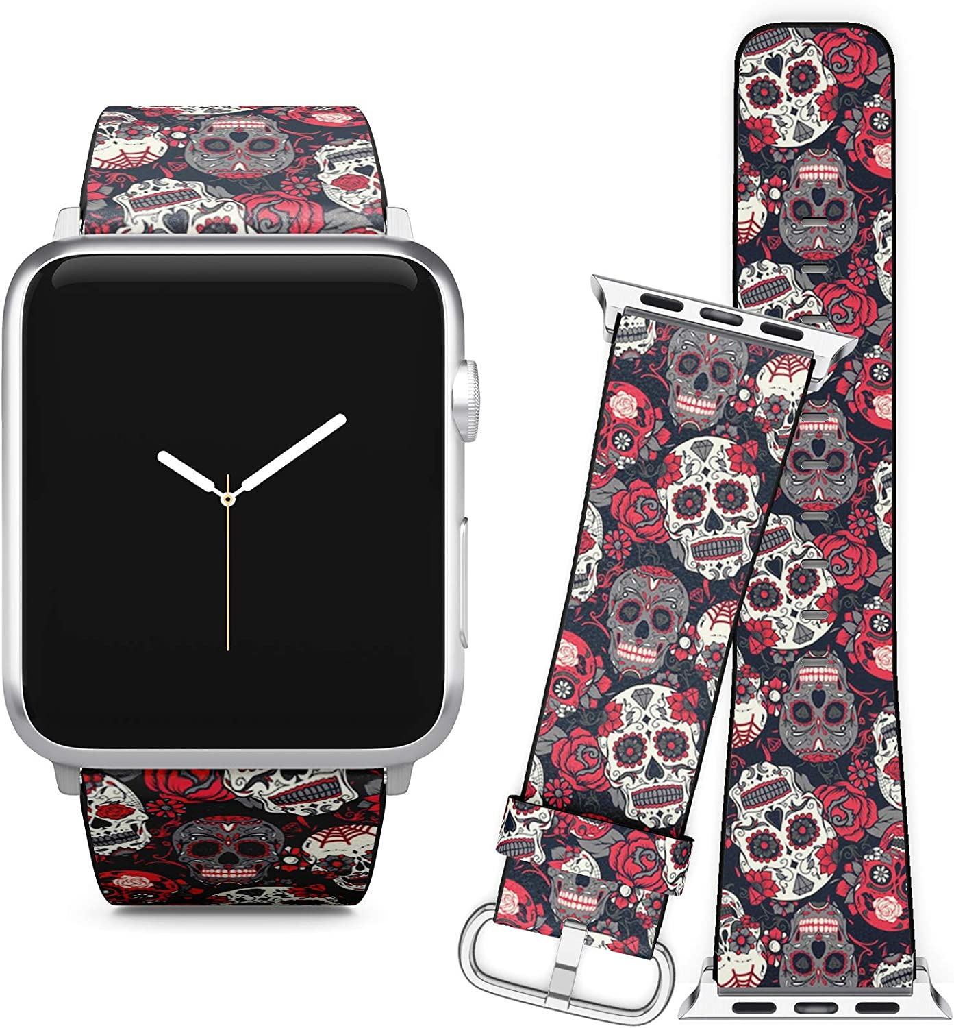Compatible with Apple Watch iWatch (42/44 mm) Series 5, 4, 3, 2, 1 // Soft Leather Replacement Bracelet Strap Wristband + Adapters // Day Dead Colorful Sugar Skull
