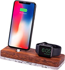 Watch Dock, Docking Station & Wooden Stand compatible with Apple Watch Series 1/2/3 and iPhone 5/6/7/8/X | Pre-installed charging cable