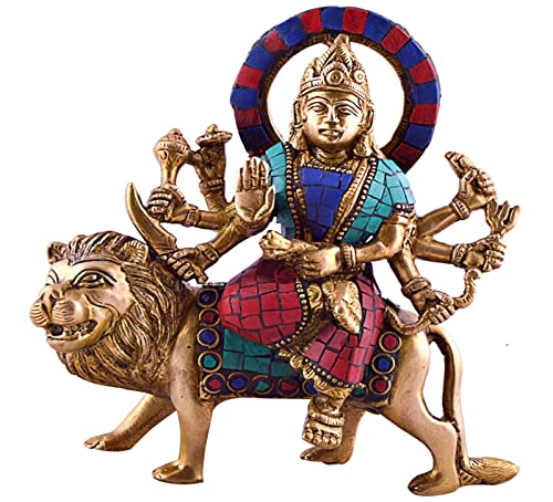 CraftVatika Durga Sitting on Tiger- Rare Hindu Goddess Maa Kali Vaishno Devi Brass Statue