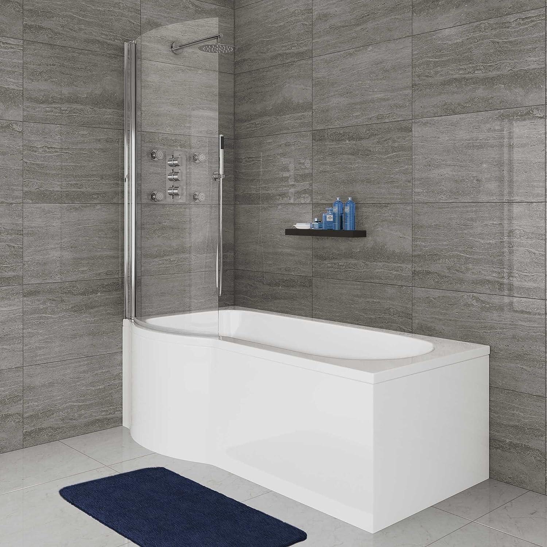 1500 mm izquierda forma de P de ducha bañera juego de mampara de ...