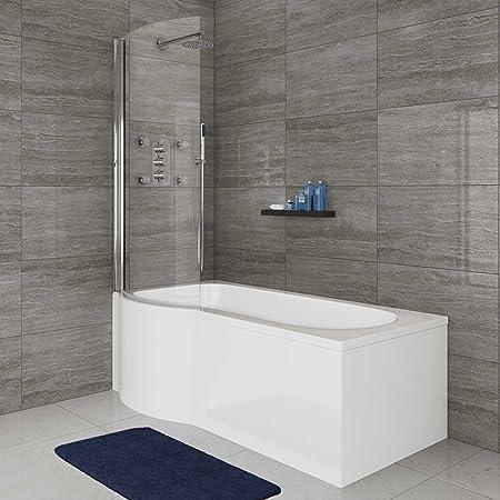 1500 mm Left P Shaped Shower Bathtub Set Modern Glass Bath Screen + ...