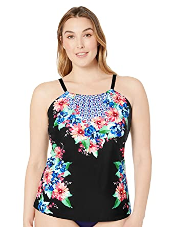 71c2450cf4b0d 24th & Ocean Women's Plus Size High Neck Adjustable Neckline Tankini  Swimsuit Top at Amazon Women's Clothing store: