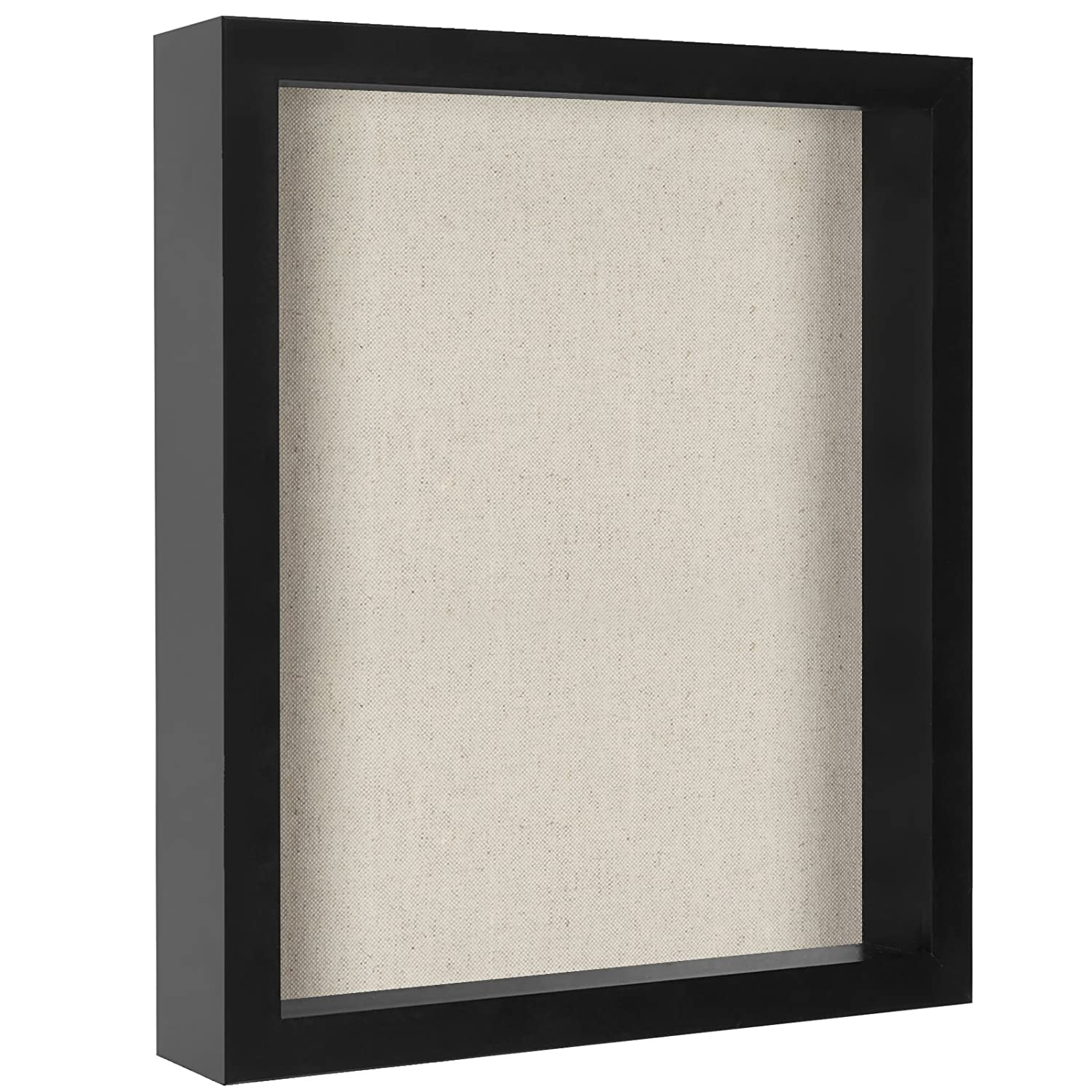 8x10 Inch Shadow Box Frame with Soft Linen Back - Perfect to Display Memorabilia, Pins, Awards, Medals, Tickets and Photos Americanflat SB0810BK