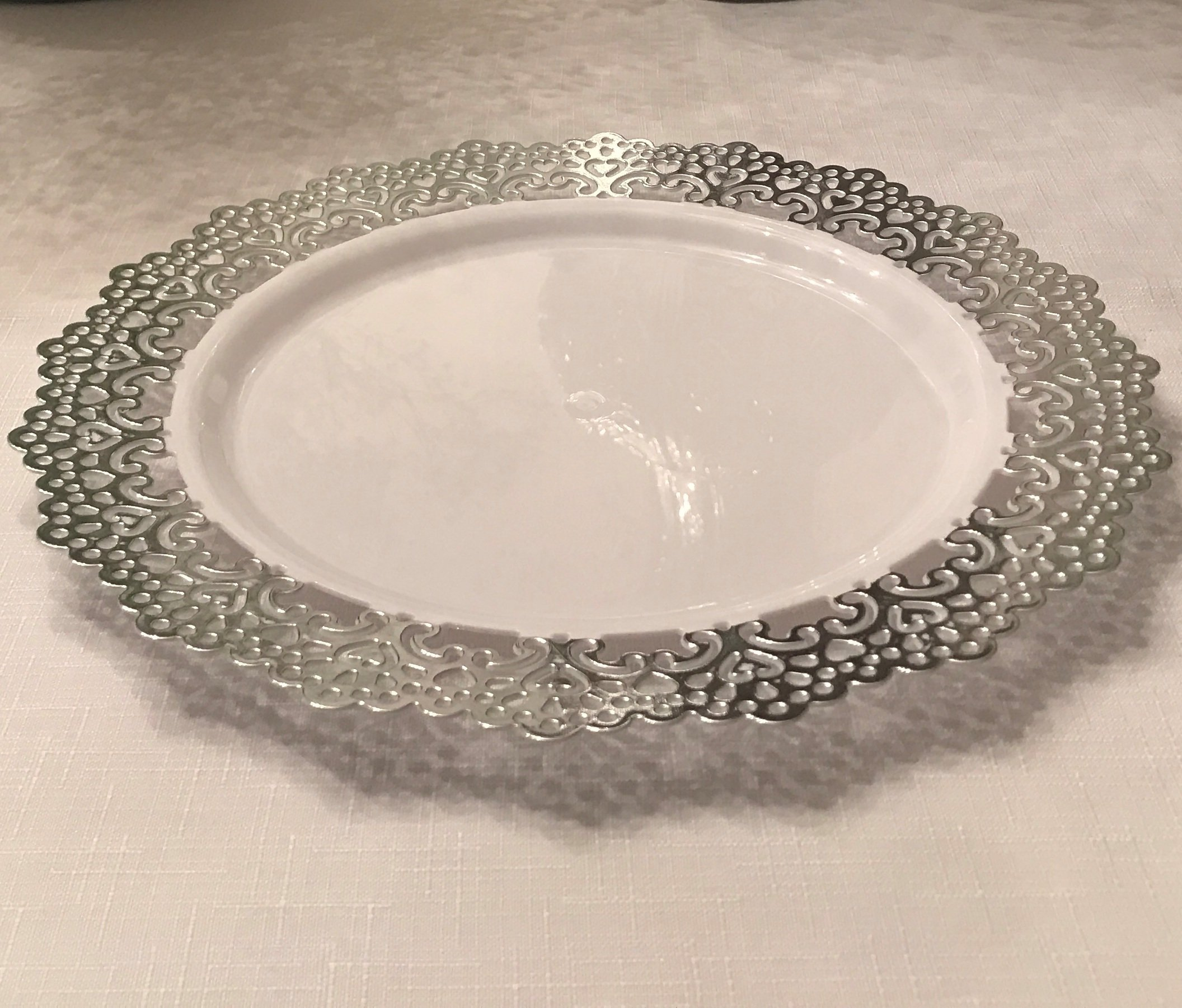 120 Piece Pack - Elegant Disposable Plastic Dinnerware - 9'' inch Buffet/Lunch/Appetizer/Dessert/Salad Party Plates - Silver Lace Trim by PartyPiks (Image #2)