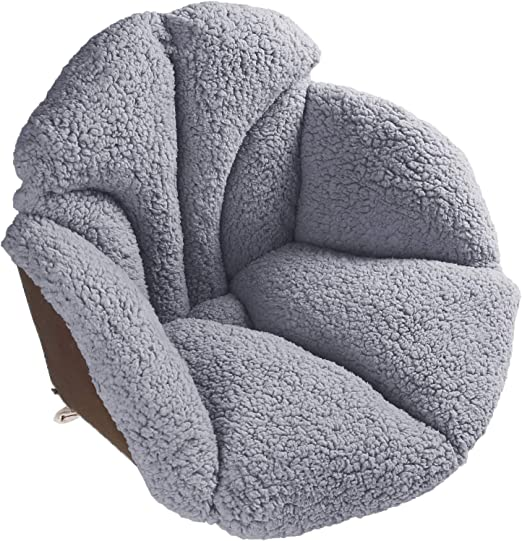 Amazon Com Hughapy Chair Cushions Desk Seat Cushion Warm Comfort Sherpa Wool Seat Cushion Pad For Support Waist Backrest Winter Plush Cushion For Home Office Chair Car Seat 19wx16lx15h Grey Kitchen Dining