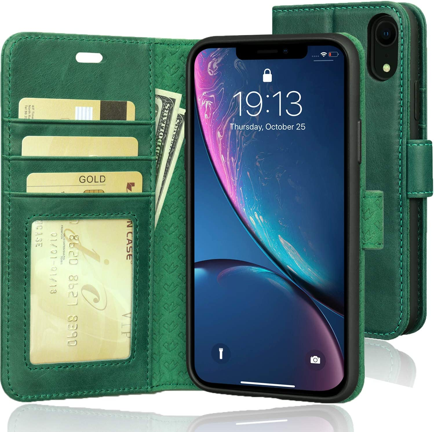 """Jisoncase For Apple iPhone XR Wallet Case, Genuine Leather Flip Case with RFID Blocking,Card Slot Holder,Magnetic Closure & Kickstand,Slim & Shockproof Protective Wallet Case for iPhone XR, 6.1"""",Green"""