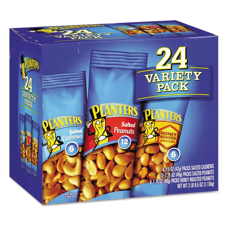 Planters 884624 Variety Pack Peanuts & Cashews 1.75 oz/1.5 oz Bag 24/Box