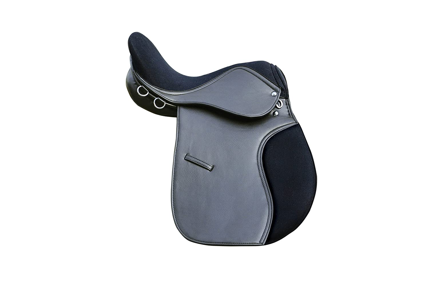 PETS2CARE Synthetic General Purpose Saddle With Suede Seat Premium Quality Wide Fit, black and brown 16, 17 & 18 (BLACK, 17)