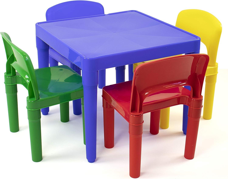 Vibrant Colors Tot Tutors Kids Plastic Table and 4 Chairs Set Renewed