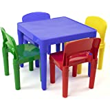 (Primary) - Tot Tutors Kids Plastic Table and 4 Chairs Set, Primary Colours (Primary Collection)
