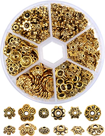 200x 10mm Vintage Copper Plated Flower Spacer Beads Caps DIY Jewelry Making