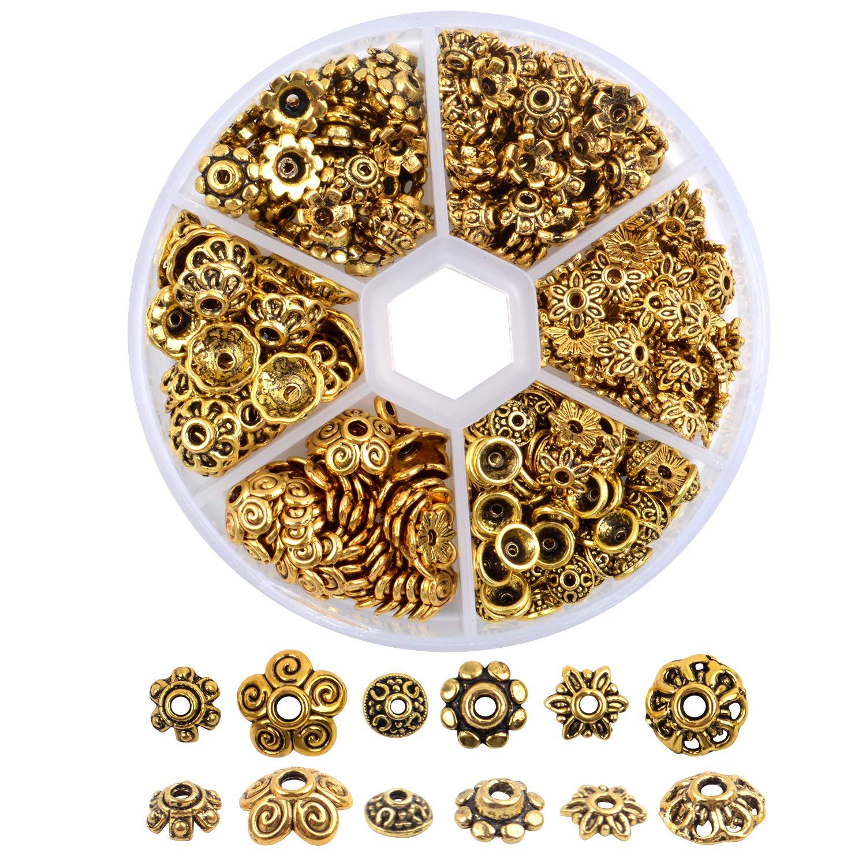 360 Piezas Espaciadores Abalorios de Tapas Separadores Cuentas de Aleacion Accesorios Joyas para Pulseras Collares Manualidades 6 Estilos,Oro Antiguo