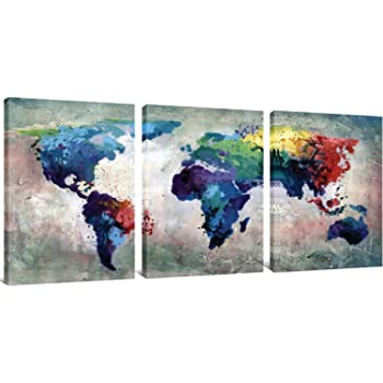 Amazon ezon ch modern art world map canvas print contemporary 3 panels canvas painting abstract world map picture printed on canvas giclee artwork stretched and framed wall art for home decor blue gumiabroncs Gallery