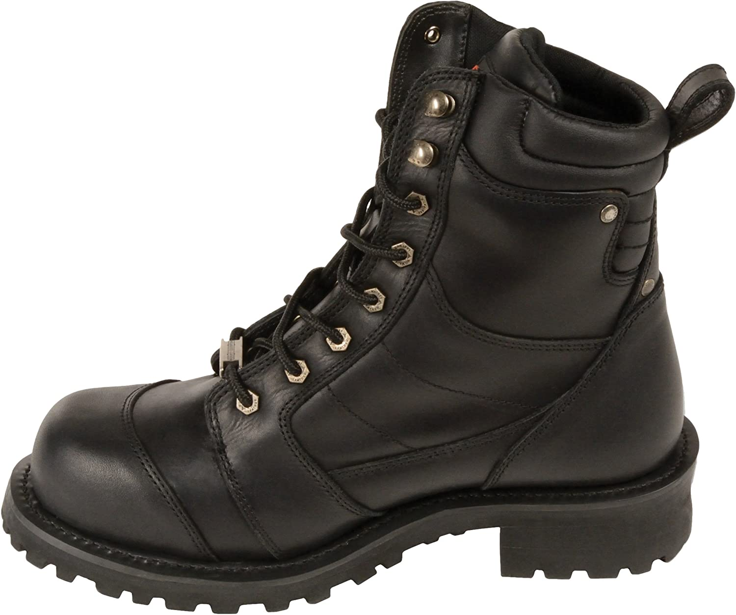 Black, Size 7W Milwaukee Leather Mens Waterproof Logger Boots with Lace to Toe Design