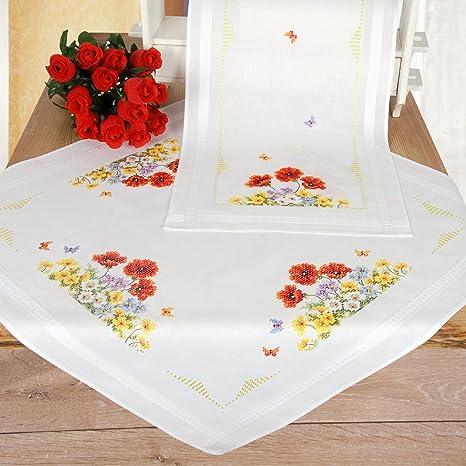 Vervaco kit broderie nappe et chemin de table motif fleurs