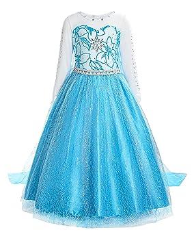 ReliBeauty - Vestido Princesa Elsa Traje Manga Larga para niñas-Azul, 150cm