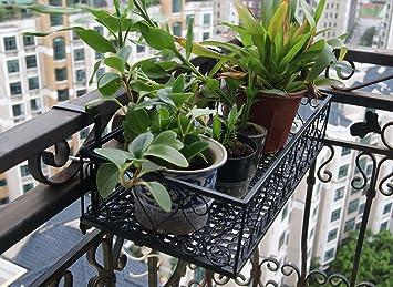 Balcón maceta soporte para estante, 2 ganchos balcones flores Pot Holder: Amazon.es: Jardín