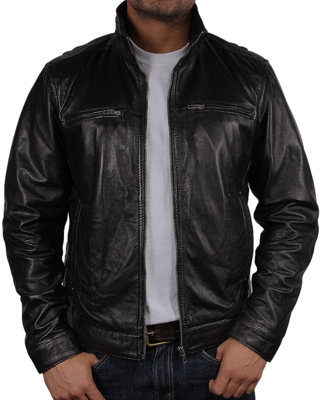 Leather jacket uk mens - Mens Leather Biker Jacket Black Brand New Real Leather Coat Designer X Small 5xl