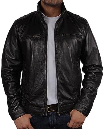 Brandslock hombre chaqueta de cuero de brando moto vaca real hide: Amazon.es: Ropa y accesorios