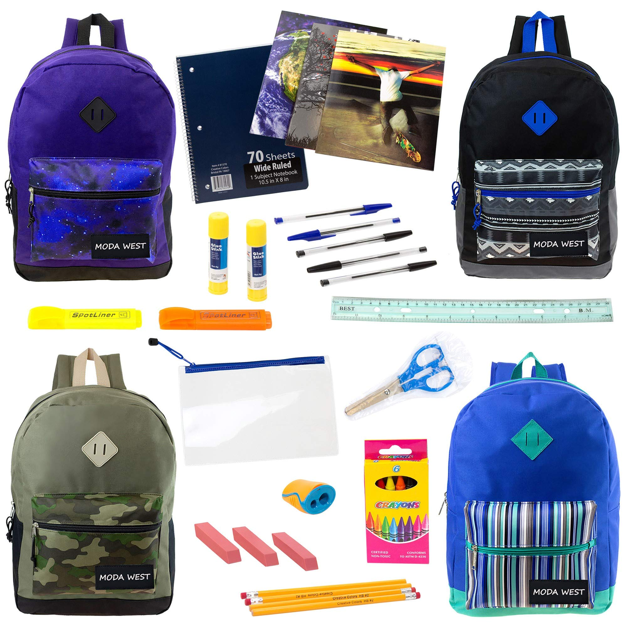 17'' Wholesale Backpacks in 4 Assorted Prints with 24 Piece School Supply Kit - Bulk Case of 12