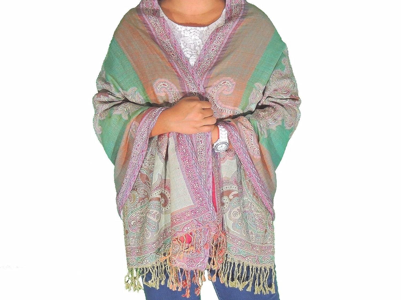 ccb87f9c7e NovaHaat Green Paisley Warm Wool Shawl - Elegant Evening Dress Winter Scarf  78