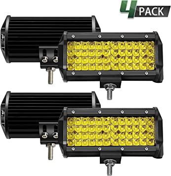 7 Inch 2PC Yellow Spot Beam LED Light Bar Sammanlight Light Pods Driving Lights Fog Lights Work Lights Amber Quad Row Lighting for Jeep Offroad Truck ATV UTV SUV Wrangler Boat Marine