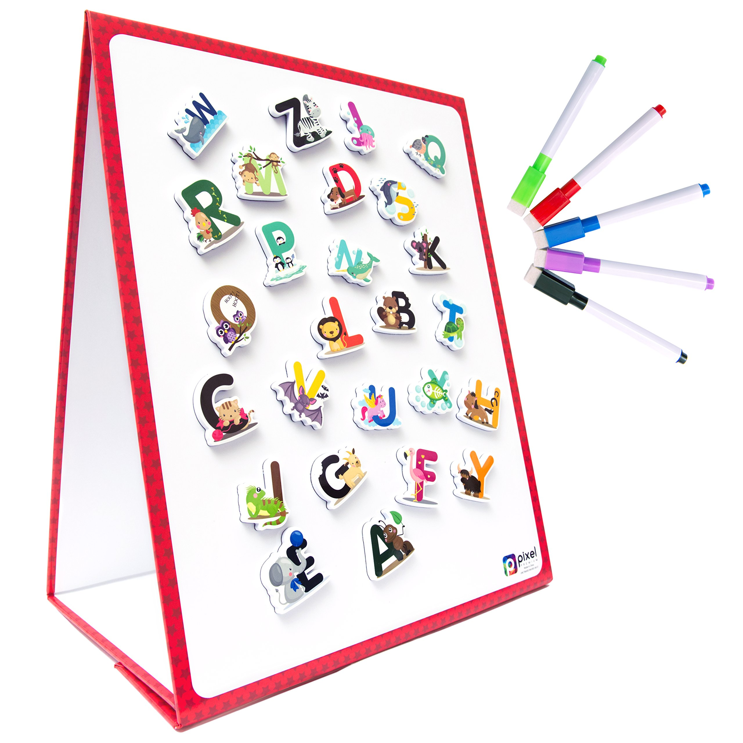Pixel Premium Magnetic Board Kids 26 ABC Animal Fridge Magnets - Dry Erase Tabletop Foldable Whiteboard Easel - Best Educational Gift Use w/ Magnets, Letters & Dry Erase Markers