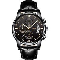 Orologio al quarzo di alta qualità da uomo MDFC, cinturino in pelle nera, 30 metri di impermeabilità con funzioni orologio luminoso, cronometro, calendario date