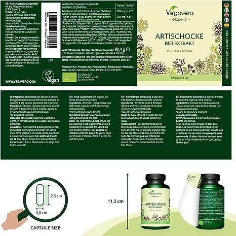 Alcachofa BIO Vegavero® | La Dosis Más Alta: 13.000 mg | Extracto 20:1 | 2,5% Cinarina | Sin Aditivos | Cuidado Del Hígado | Detox & Antioxidante | ...