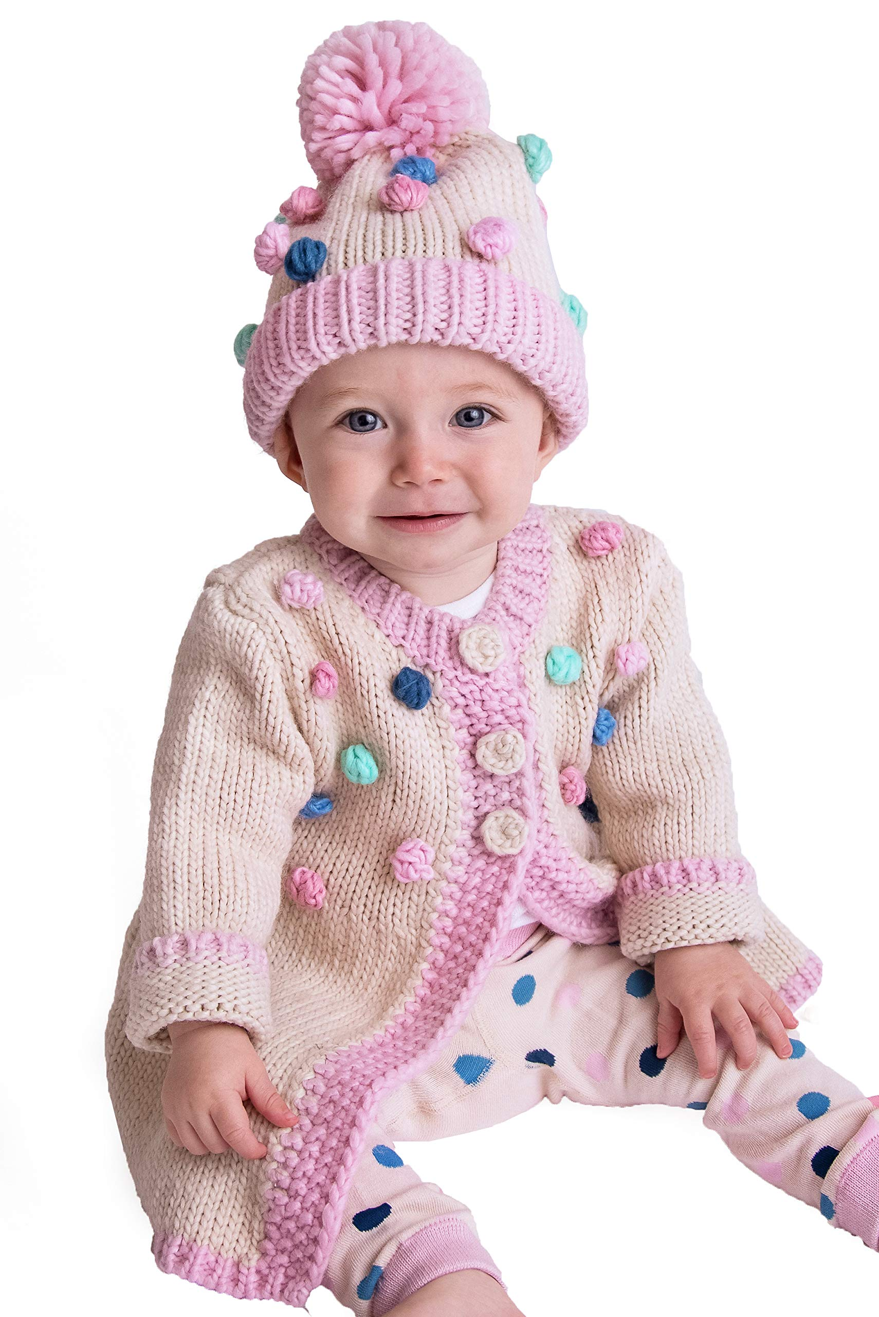 Huggalugs Baby and Toddler Girls Popcorn Dot Knit Sweater 2-3 by Huggalugs