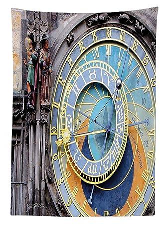 vipsung Reloj Decor Mantel Praga Reloj astronómico en el Casco Antiguo Medieval un hito de la Ciudad Comedor Cocina Funda para Mesa Rectangular, ...