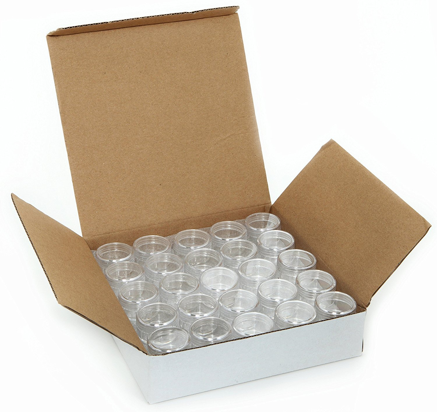 50 Empty, Clear, 3 Gram Plastic Pot Jars, Cosmetic Containers, with Lids. 3 Gram – 50pk, Clear