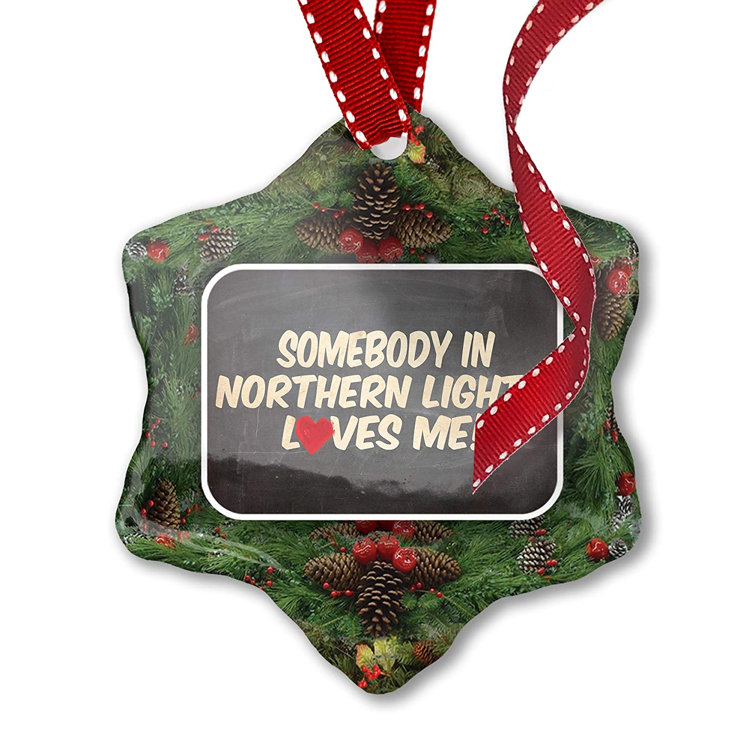 Amazon Com Neonblond Christmas Ornament Somebody In Northern Lights