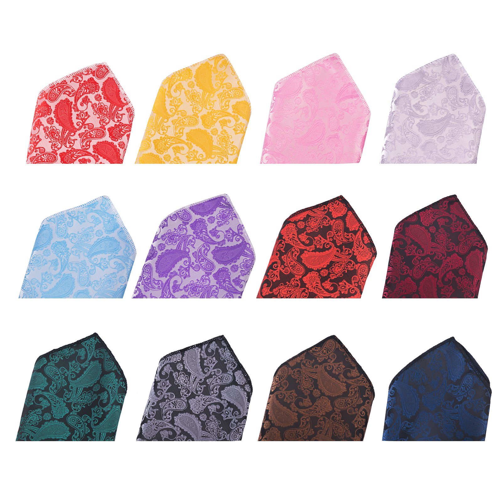12 PCS Mens Square Handkerchief Printing patterns Pocket for Wedding Party(Pack of 12) by DanDiao (Image #3)
