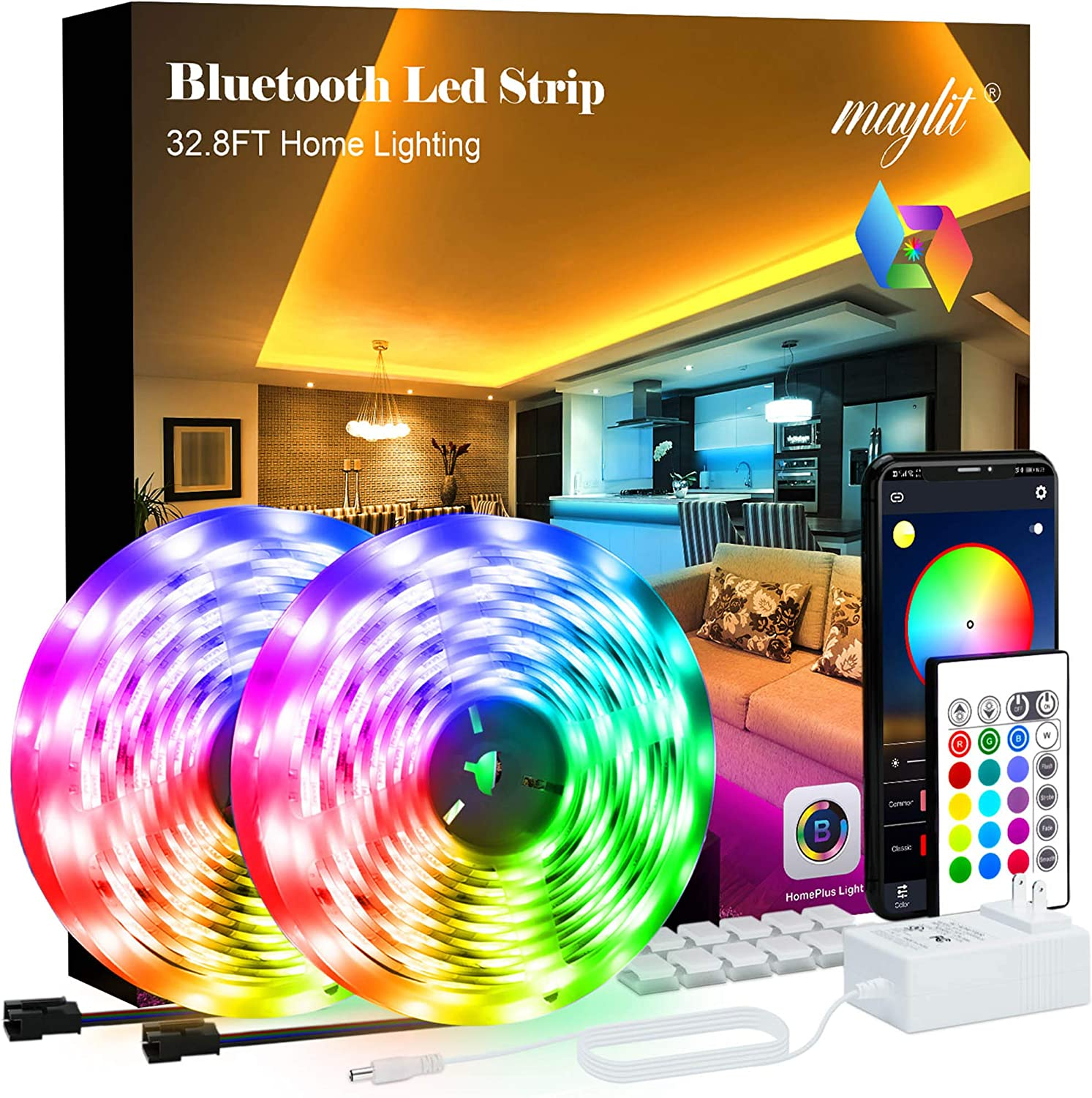 maylit Led Strip Lights 32.8ft Bluetooth APP Controller 5050LEDs Music Sync Color Changing Kit with Remote and 12V Power Supply for Bedroom, Room, Home Decoration, RGB (Red, Green, Blue), 32 Ft