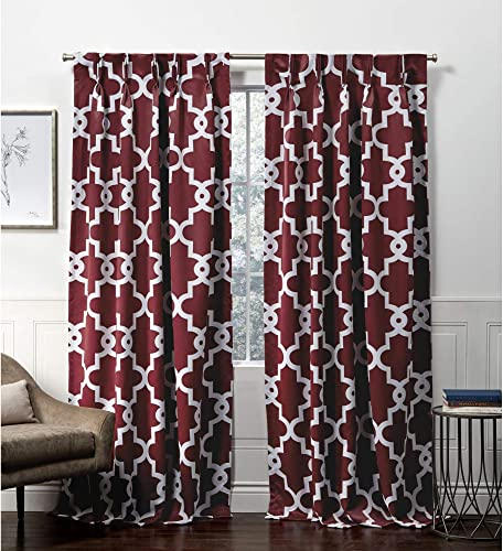 Exclusive Home Curtains Ironwork Pinch Pleat Curtain Panel, 52×96, Burgundy, 2 Panels