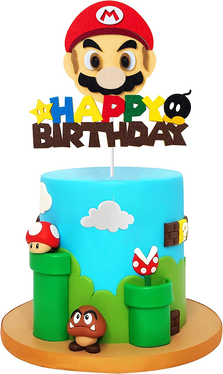 Mario Brother Birthday Cake Toppers Themed Birthday Party Favor Cupcakes Topper Video Game Birthday Decoration Baby Shower Wario Party Supplies Cakes Deserts Fruits Accessories Photo booth