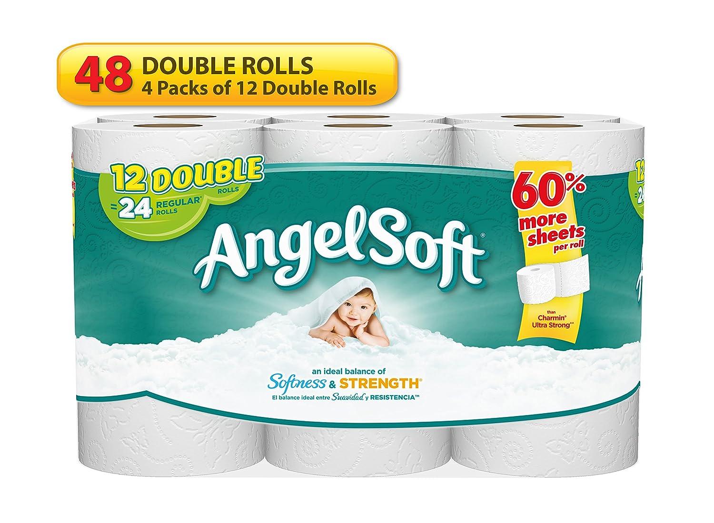 Amazon.com: Angel Soft 2 Ply Toilet Paper, 48 Double Bath Tissue ...