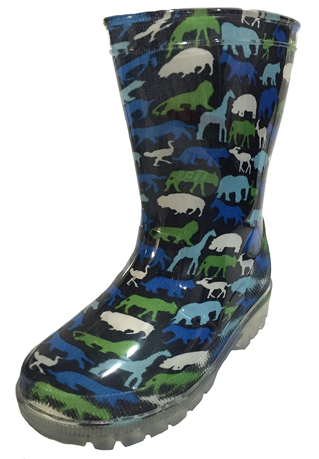 SIYA Toddler and Youth Boys Light-Up Animal Design Rain Boot Snow Boot
