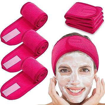 Facial Wash Face Bath Shower Makeup Spa Make Up  Hair Headband Soft Towel 5pc