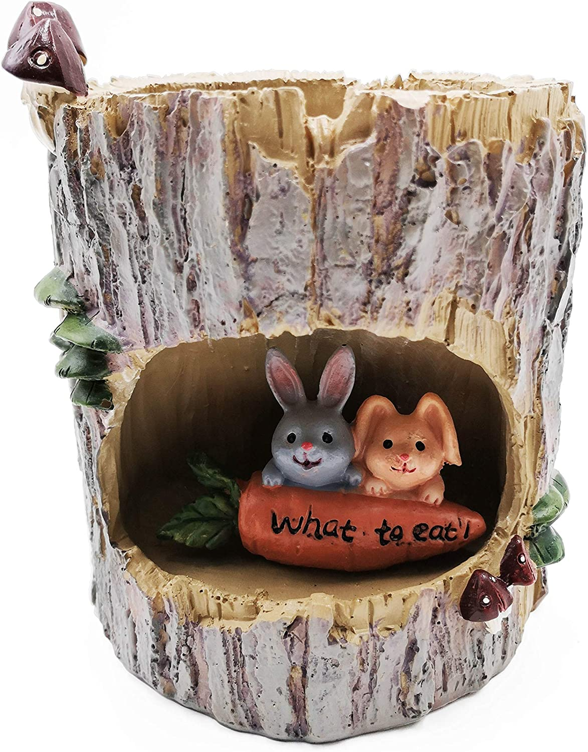 JAMOR Micro-Landscape Plant Pots Tiny Creative Flower Pots Cute Cartoon Tree Stump Besign (Rabbit)