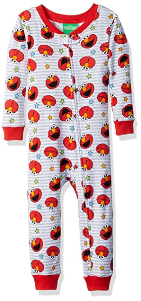 Sesame Street Baby Boys Elmo Cotton Non-Footed Pajama, Red, 12M