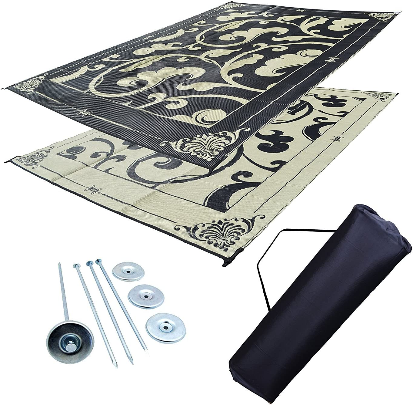 Professional EZ Travel Collection RV Patio Mat Awning Trailer Mat Pirate Flag 9x18