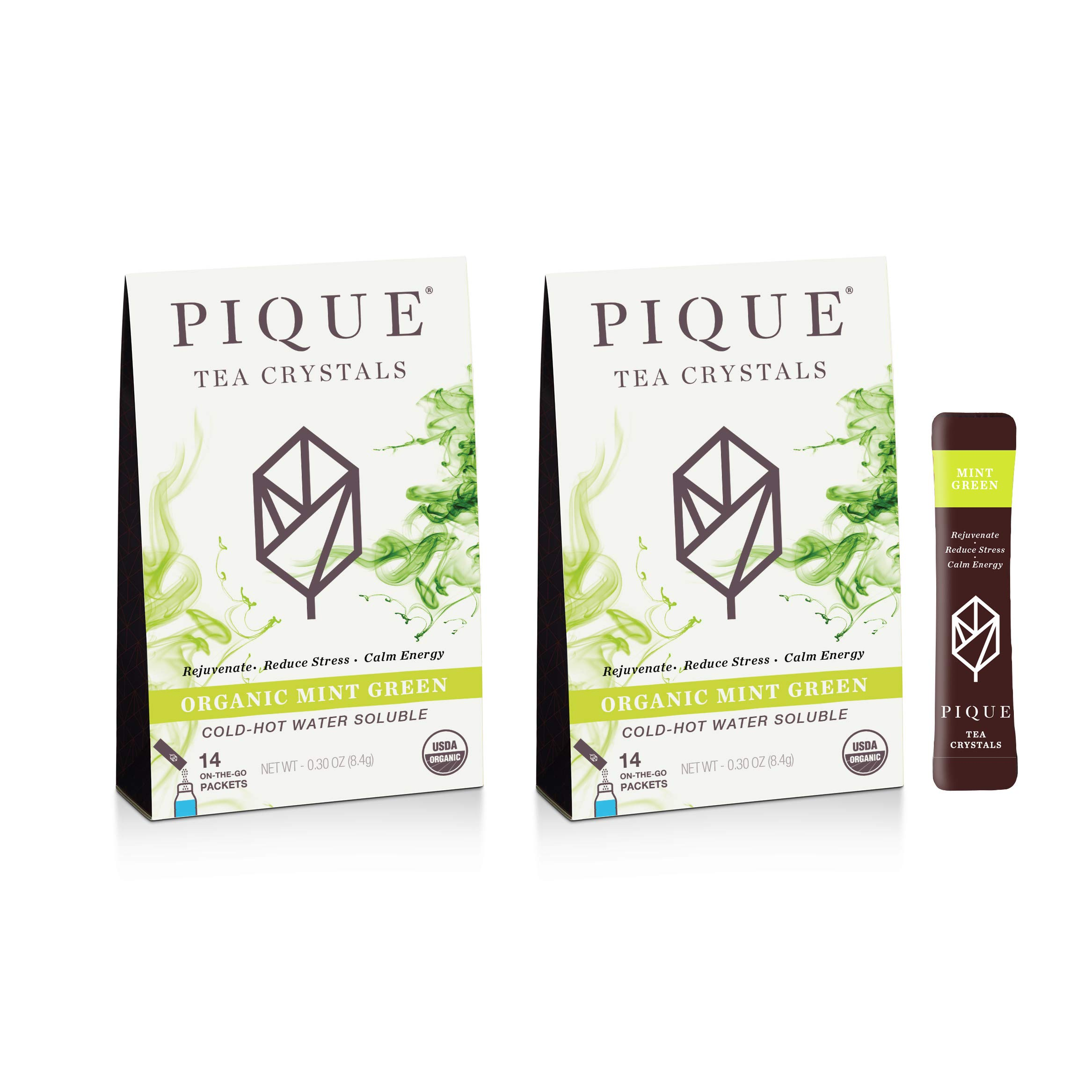 Pique Organic Mint Green Tea Crystals, Antioxidants, Energy, Gut Health, 28 Single Serve Sticks (Pack of 2)