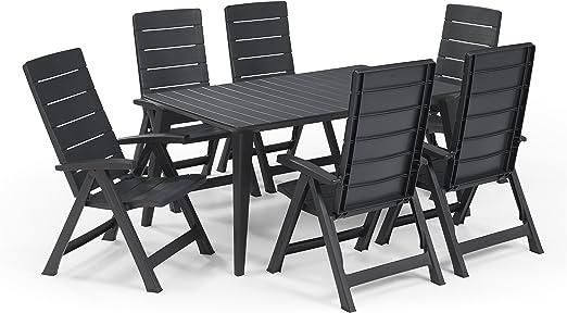 Keter - Set de mobiliario de jardín Lima/Brasilia (mesa + 6 sillas), color grafito: Amazon.es: Jardín